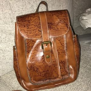 Patricia Nash signature map leather backpack